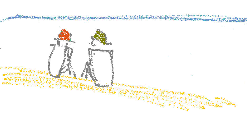 Drawing of talking on the beach